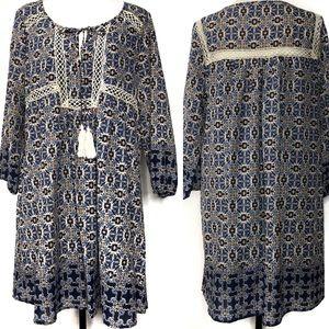 Entro Boho Style Navy Printed Dress